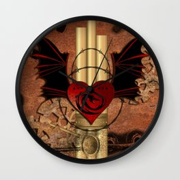 Heart with dragon and wings Wall Clock