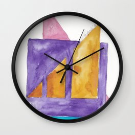 180818 Geometrical Watercolour 2| Colorful Abstract | Modern Watercolor Art Wall Clock