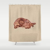 animal skull Shower Curtains featuring skull by Sanda