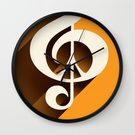 Retro Shadow Music & Peace, Orange Wall Clock