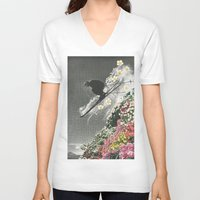 skiing V-neck T-shirts featuring Spring Skiing by Sarah Eisenlohr