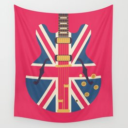 Union Jack Flag Guitar - Crimson Wall Tapestry