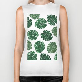 Tropical Hand Painted Swiss Cheese Plant Leaves Biker Tank