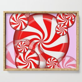 RED PEPPERMINT CHRISTMAS HOLIDAY CANDY Serving Tray