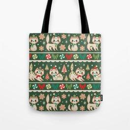 Striped Gingerbread Kitties (Green) Tote Bag