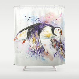 Flying Puffin Shower Curtain