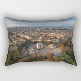 Aerial view of arch peace (Arco Della Pace) from Branca tower, Milan, Lombardy, Italy. Rectangular Pillow