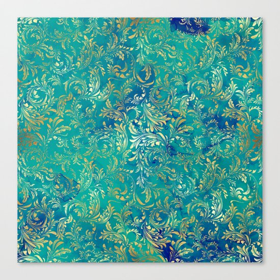 Blue Gold Swirls Canvas Print