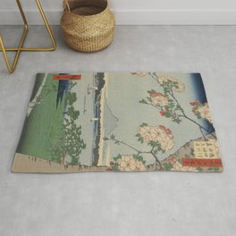 Cherry Blossoms on Spring River Ukiyo-e Japanese Art Rug