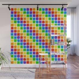 Rainbow Mosaic in Diagonal Stripes on White Wall Mural