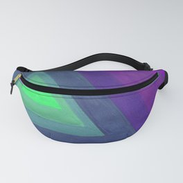 Duochrome Retro 80s Prism Rainbow Stripes - Lime green to Violet Fanny Pack
