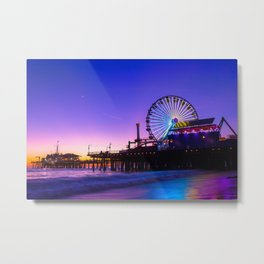 Santa Monica purple sunset Metal Print