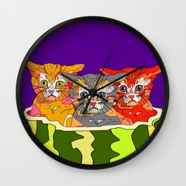 Cats in Watermelon Jacuzzi - Tropical Wall Clock