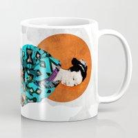geisha Mugs featuring Geisha by Steve W Schwartz Art