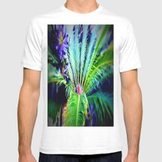 Tropical Plants and Flowers White Mens Fitted Tee MEDIUM