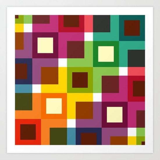 Colorful square pattern Art Print