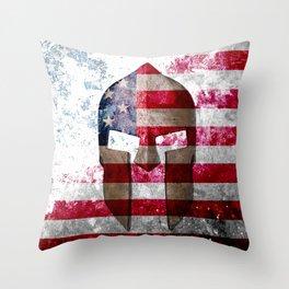 Molon Labe - Spartan Helmet Across An American Flag On Distressed Metal Sheet Throw Pillow