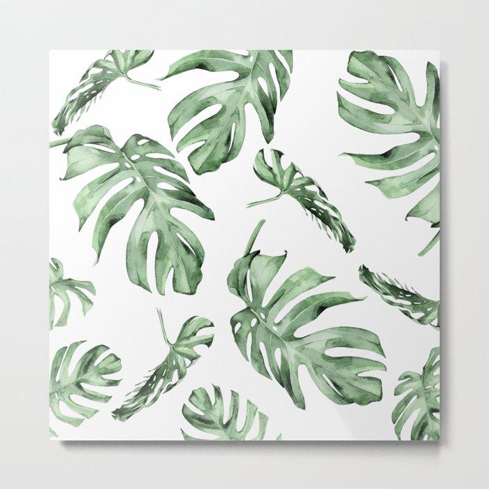 Monstera Pattern Green #society6 #buyart Metal Print