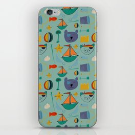 cat and bear at the beach blue green iPhone Skin