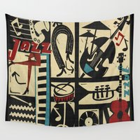 drums Wall Tapestries featuring Jazzz by Chicca Besso