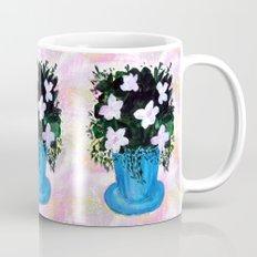 Blue Vase with Foliage and White Flowers Mug