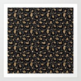 Black Gold Leopard Print Pattern Kunstdrucke