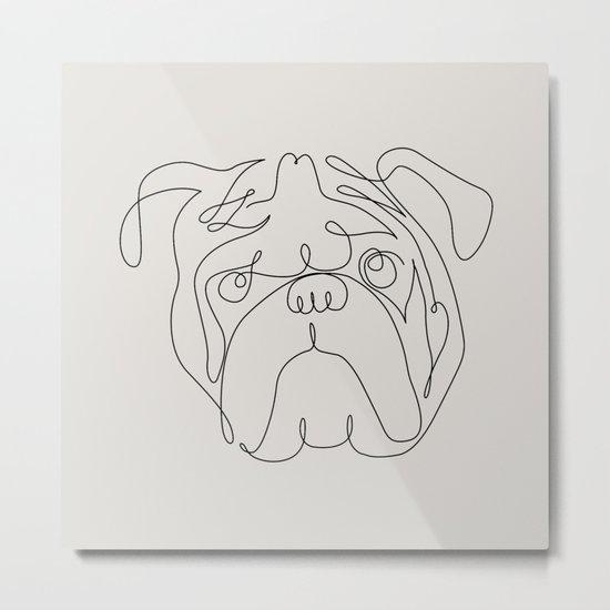 One Line English Bulldog Metal Print
