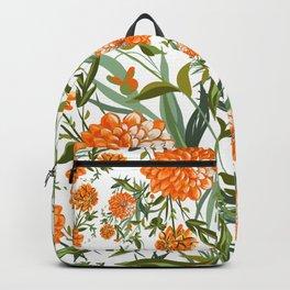 Orange Spring Summer Flowers Boho Backpack