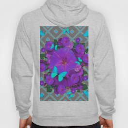 Shimmering Blue Butterflies  Purple Floral Art Hoody