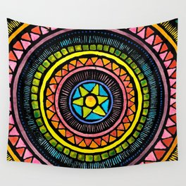 Cheerful Stained Glass Batik Mandala Design Wall Tapestry
