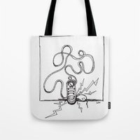 sneaker Tote Bags featuring Sneaker Snake by Leslie Buccino