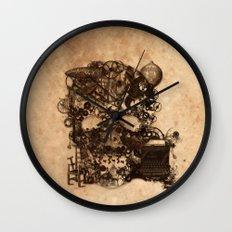 Vintage Steampunk Skull Brown Metal Gears Texture Wall Clock