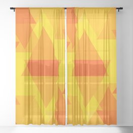 Bright yellow and orange large triangles in the intersection and overlay. Sheer Curtain