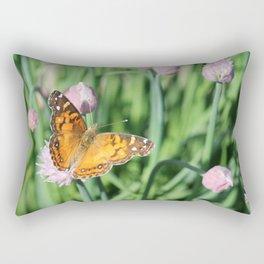 Orange Butterfly on Chives Rectangular Pillow