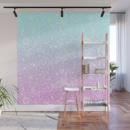 Floral Gradient - Pink and Turquoise Wall Mural
