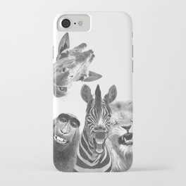Black and White Jungle Animal Friends iPhone Case