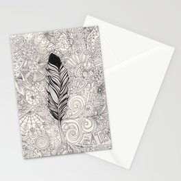 Doodle Feather Stationery Cards