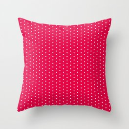 White dots on bright pink background Throw Pillow