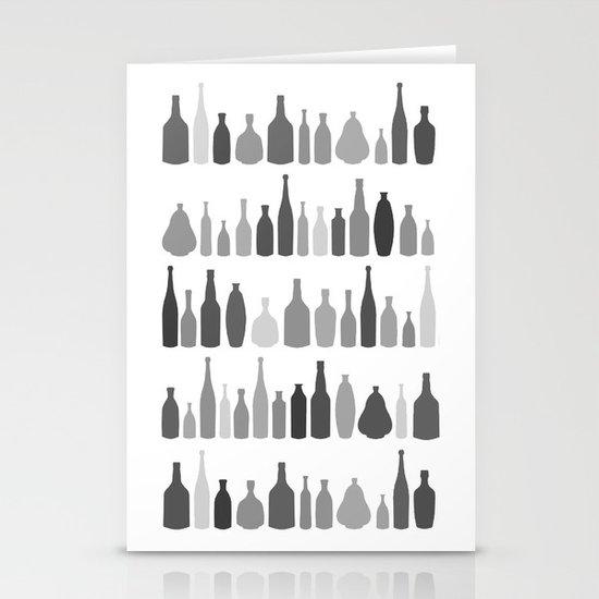 Bottles Black and White on White Stationery Cards