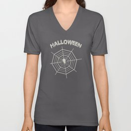A Spider On Halloween With A Cobweb Unisex V-Neck