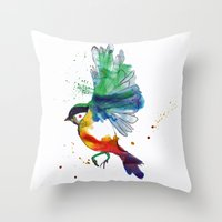 birdy Throw Pillows featuring Birdy by Annaleigh Louise
