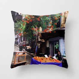 Boy Selling Peaches Throw Pillow