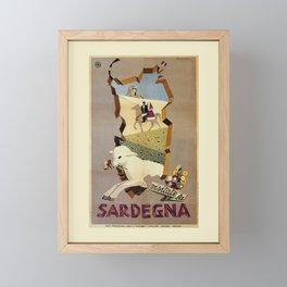 Visit Sardinia vintage Italian travel ad Framed Mini Art Print