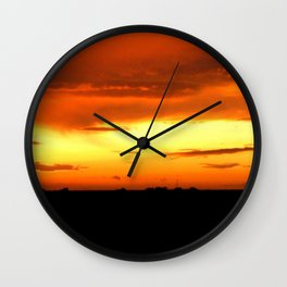 Sunset Over The Fields Wall Clock