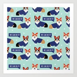 Corgi Rosie the Riveter - dog in costume, corgi cosplay, corgi costume, cute corgi, dog, dogs, Art Print