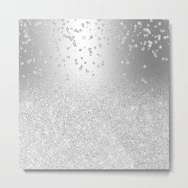 Modern silver glitter ombre metallic sparkles confetti Metal Print