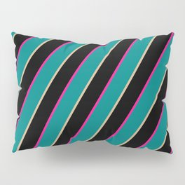 Deep Pink, Teal, Tan, and Black Colored Stripes/Lines Pattern Pillow Sham