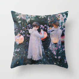 John Singer Sargent - Carnation, lily, lily, rose Throw Pillow