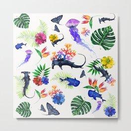 tropical shark pattern Metal Print