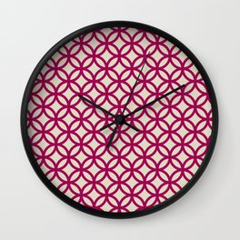 Ring Overlap - berry on beige Wall Clock